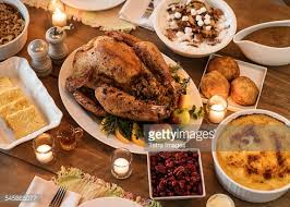 Dining Table With Food Dining Table Filled With Thanksgiving Food Stock Photo Getty Images