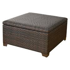 Low Ottoman Leather Coffee Table Storage Wicker Brown Indoor Outdoor Storage