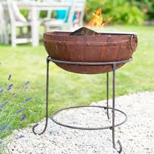 Steel Firepits Oxford Barbecues Contemporary Steel Firepit With Grill Small