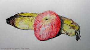 colour pencil drawing of a banana and an apple drawing