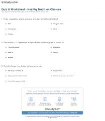 quiz u0026 worksheet healthy nutrition choices study com