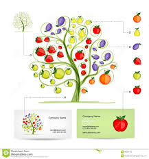 vector apple tree and frame invitation card template design stock