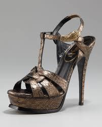 laurent tribute python snake ornament sandal in metallic lyst