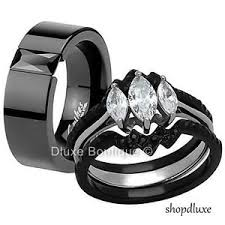 his and hers engagement rings sets his hers 4 black stainless steel wedding engagement ring
