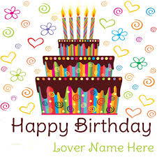 write name on beautiful birthday cake for lover