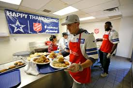 thanksgiving 201 cowboys serve thanksgiving meal at the salvation army