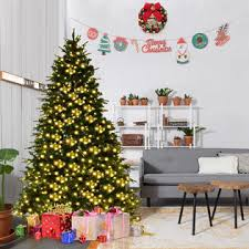 goplus 7ft pre lit artificial tree hinged w 460 led