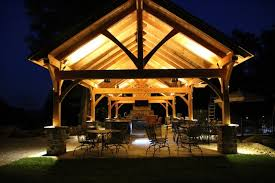 timber frame great room lighting 18 x54 timber frame pavilion in mohnton pa traditional patio