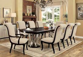 silver dining room espresso and silver dining table set