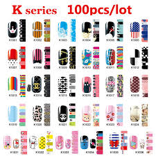 100pcs nail patch sticker mix designs cover adhesive