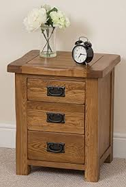 Oak Bedside Tables Cotswold Rustic Solid Oak 3 Drawer Bedroom Bedside Table 50 X 41