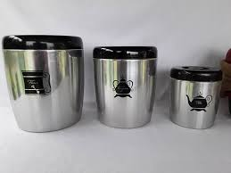 fashioned kitchen canisters bend aluminum kitchen canister set 3 mill finish