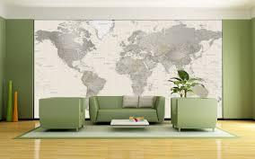 neutral tones world political map mural