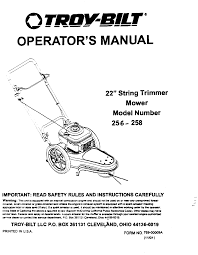 troy bilt lawn mower accessory 256 user guide manualsonline com