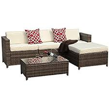 Outdoor Sofa With Chaise Amazon Com Giantex 4pc Patio Sectional Furniture Pe Wicker