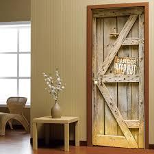 online buy wholesale wall wood decor from china wall wood decor 2 pcs set creative wooden door wall stickers bedroom home decoration poster pvc waterproof door