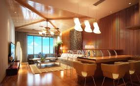 3d living dining room ceiling fan and pendant lights 3d house