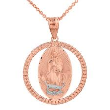 rose tone necklace images Solid two tone rose gold cuban link circle frame diamond cut lady jpg