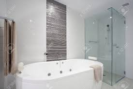 Clean Bathroom Showers Stylish Clean Bathroom With Shower And Bath Tub Stock Photo