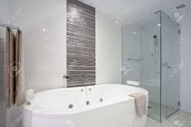 Bathroom With Shower And Bath Stylish Clean Bathroom With Shower And Bath Tub Stock Photo