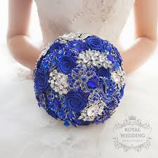 silver and royal blue wedding royal blue brooch bouquet bridal bouquet wedding bouquet