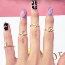 rings with initials 4 set letters initials midi knuckle rings stackable