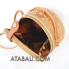 and large ata rattan round bag with flower pattern and lining