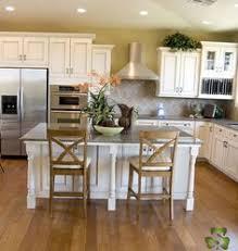 Kitchen Cabinets Antique White Light Cabinets With Dark Island And Dark Granite Counter Tops