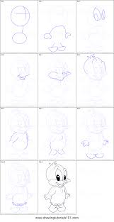 draw baby daffy baby looney tunes printable step