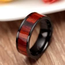 wood rings wedding retro 8mm wood ring black titanium engagement rings for men