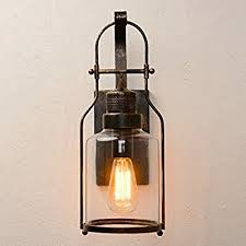 Lantern Wall Sconce Ceenwe Watson Retro Industrial Loft Lantern 1 Light Wall Sconce