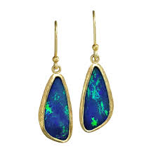 blue opal earrings petra class blue green australian opal gold doublet handmade