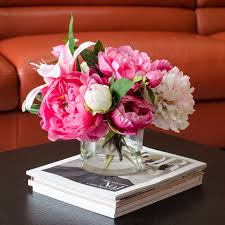 artificial peonies silk peonies arrangement with casablanca fuchsia pink peonies