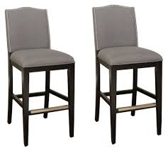 Upholstered Bar Stools With Backs Ahb Chase Bar Stool Black With Smoke Linen Upholstery Set Of 2