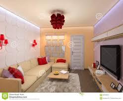 D Render Of The Interior Design Of The Living Room In A Modern S - Interior decor for living room
