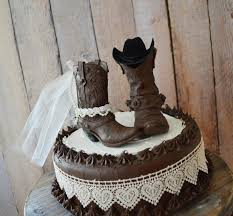 tractor cake topper western wedding cowboy boot cake topper western and groom