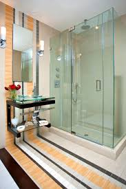 cabin bathroom ideas glass shower cabin partition wall chandelier mirror without frame