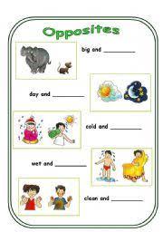opposites 1st worksheet of 4