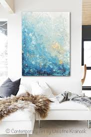 Contemporary Art Home Decor Giclee Print Large Art Abstract Painting Blue White Wall Art