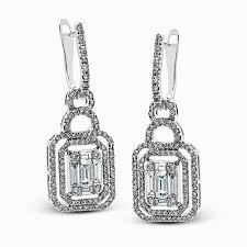 design of earrings 18k white gold geometric design diamond earrings mosaic collection