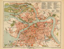 Vintage Map Map Art St Petersburg Russia Map Poster Vintage Maps Old