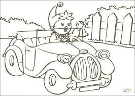 noddy rides car coloring free printable coloring pages