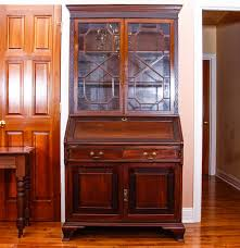 chippendale style antique secretary desk with glass bookcase