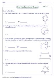 one step equation worksheets