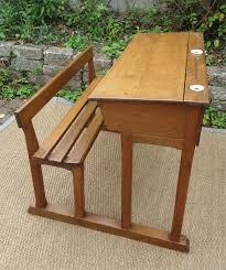 bureau d 馗olier ancien en bois 1 place pupitre d écolier en bois avec ouverture circulaire pour l encrier