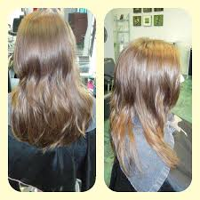 before and after photo of blonde balayage ombre yelp