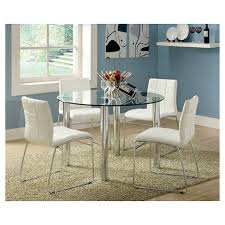 chrome round dining table iohomes 5pc glass top chrome leg round dining table set metal white
