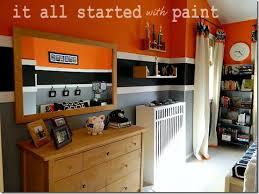 teen boy bedroom in orange gray black