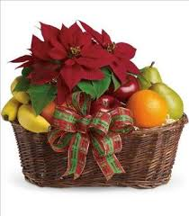 Order Flowers San Francisco - fruit and poinsettia basket colma florist funeral flowers san