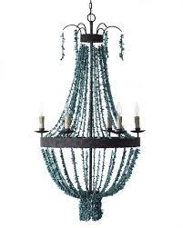 turquoise beaded chandelier andrew design turquoise 6 light chandelier